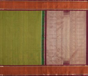 Bridal Kanjivaram Silk Saree in Green With Jacquard