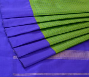 Kanjivaram Silk Saree in Parrot Green with Korvai Border