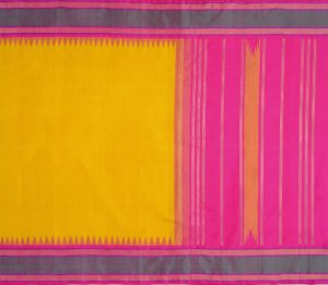 Kanjivaram Silk Saree in Yellow with Korvai Border