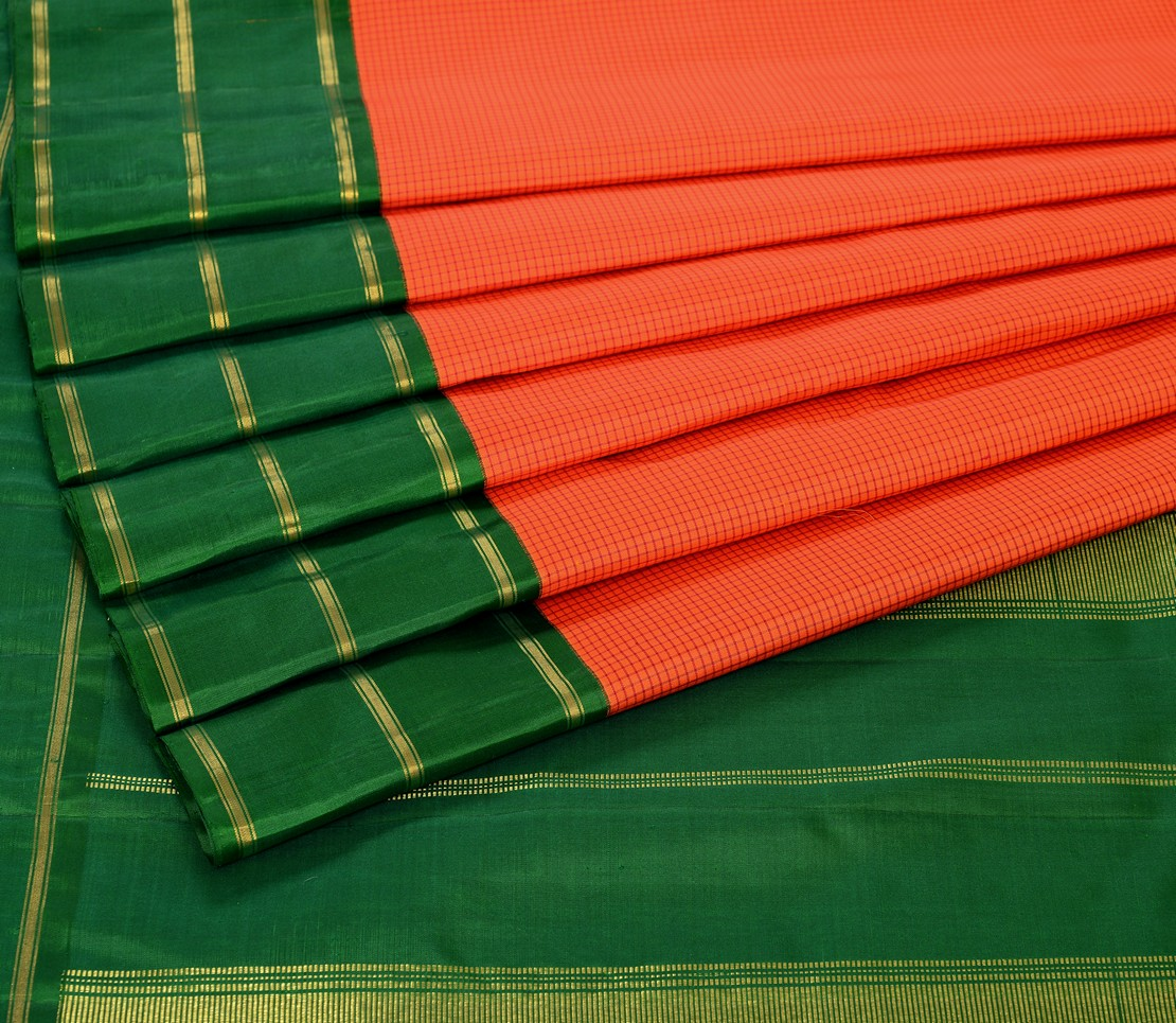 Kanjivaram Silk Saree in Orange with Korvai Border