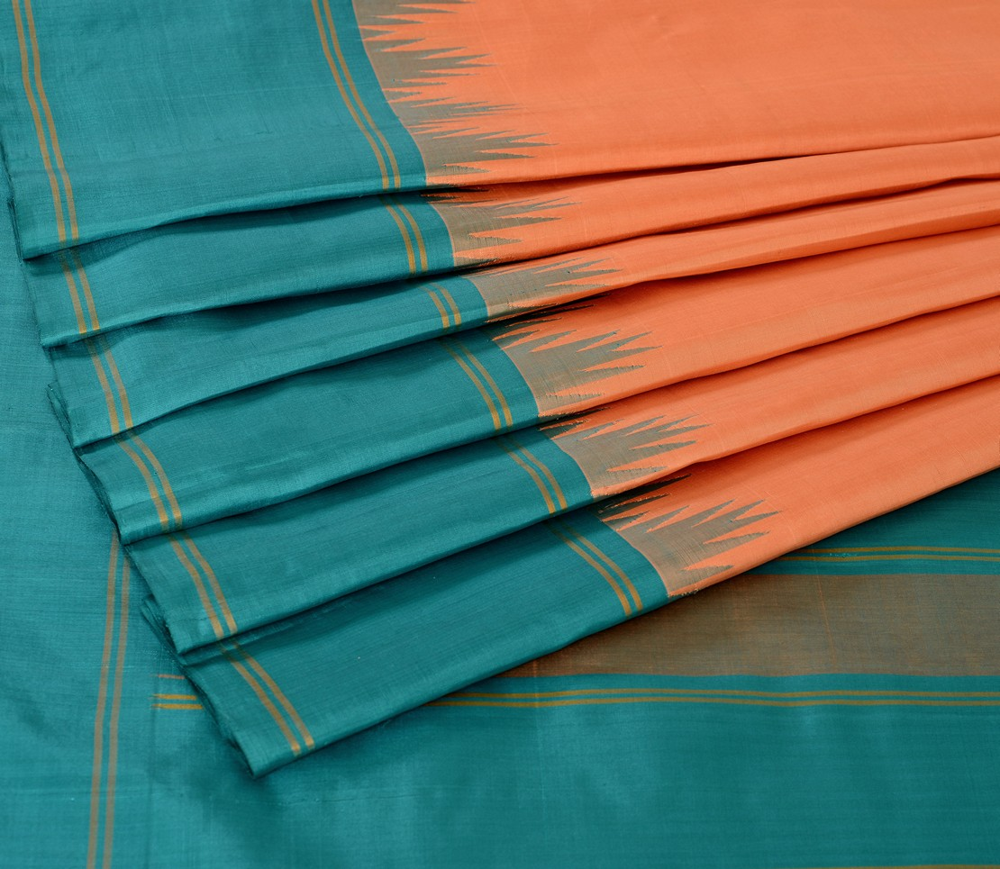Kanjivaram Silk Saree in Peach Butter with Korvai Border