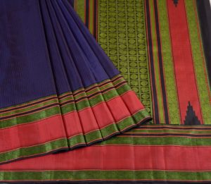 Kanjivaram Silk Saree in Midnight Blue with vertical Mutthu Seer