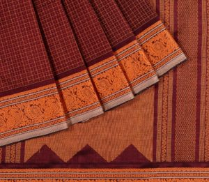 Kanchi Silkcotton Saree in Coffee Brown