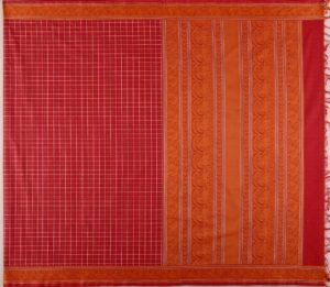 kanchi Cotton Saree in Deep Red