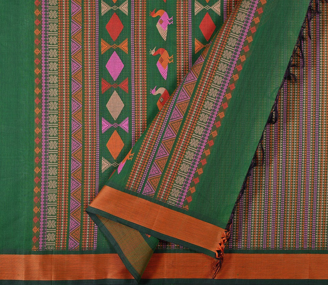 Kanchi Cotton Saree in Bottle Green with Bomkai pallu