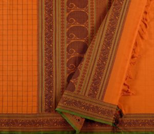 Kanchi Cotton Saree in Mustard