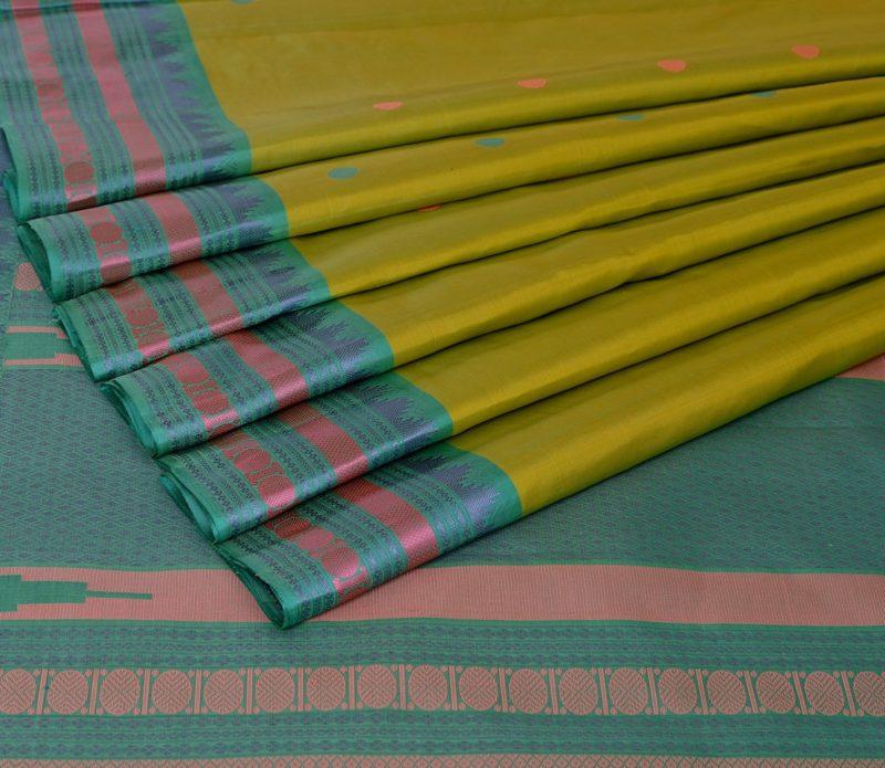 Kanjivaram silk saree in pista green