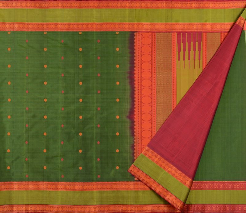 Kanjivaram Silk Saree in bottle green