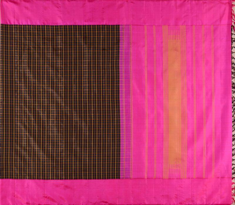 Kanjivaram Silk Saree in Black Checks