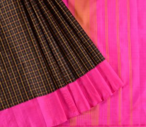 Kanjivaram Silk Saree in Black Checks