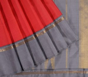 Kanjivaram Silk Saree in Orange-Pink Checks
