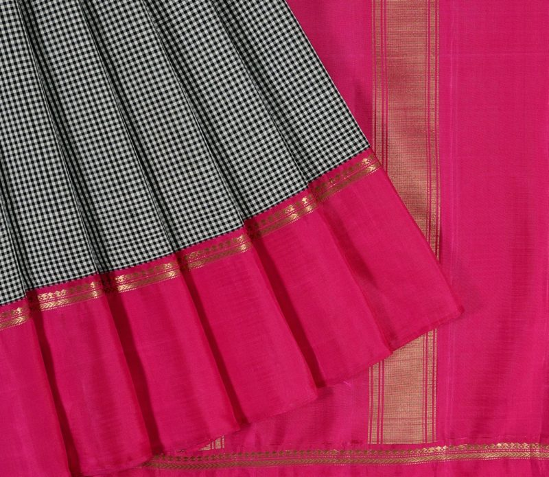 Kanjivaram Silk Saree in Black & White Checks