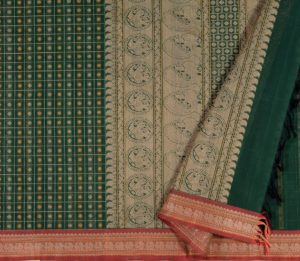 kanchi Cotton Saree in Bottle Green