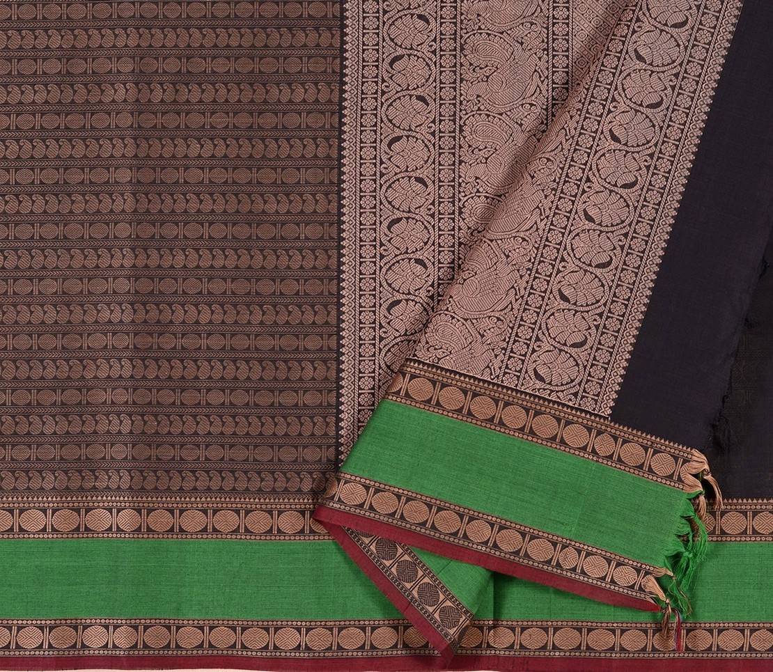 Kanchi Cotton Saree in Dark Brown