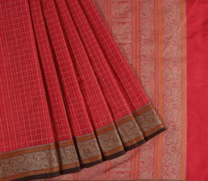 Kanchi Silkcotton Saree in Red with Mutthu Kattam