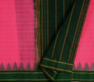 Kanchi Cotton Saree in pink with silk border