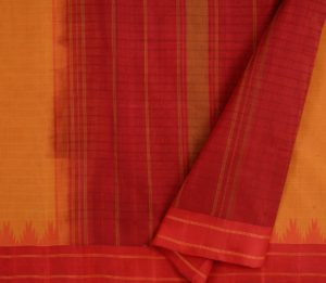 Kanchi Cotton Saree in Mustard with Silk Border