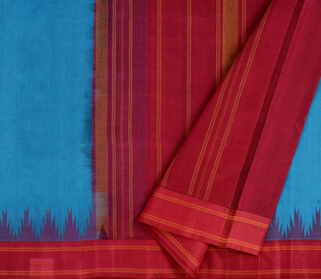 Kanchi Cotton Saree in Coppersulphate Blue with Silk Border