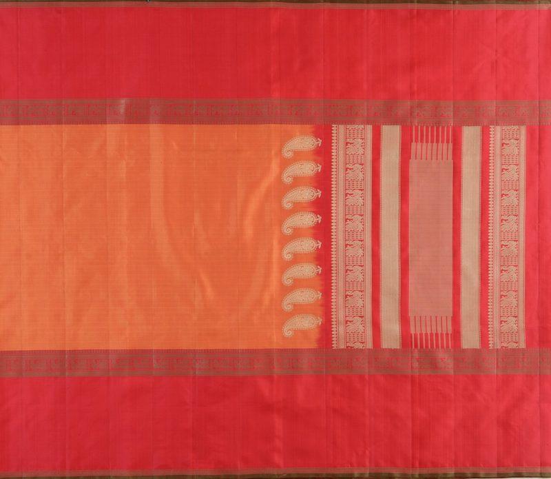 Kanjivaram Silk Saree in Rust-Orange