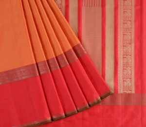 Kanjivaram Silk Saree in Rust-Orange
