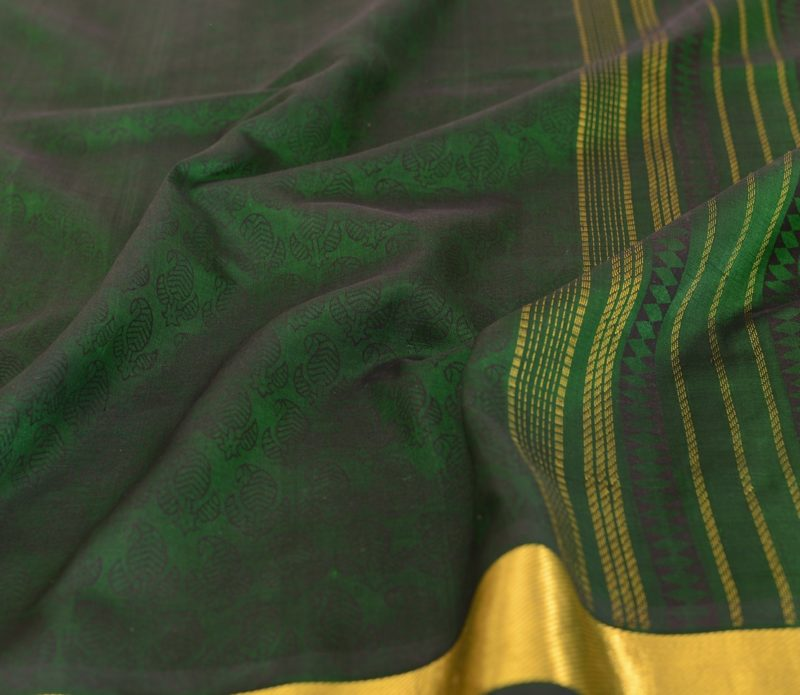 Kanchi Silkcotton Saree in Bottle Green with prints 24190802