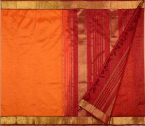 Kanchi Silkcotton Saree in Orange bavinchi border