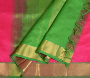 Kanchi Silkcotton Saree in Rani Pink