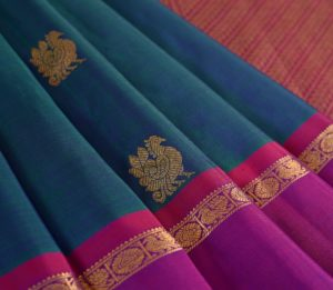 Kanjivaram Silk Saree in Peacock Blue