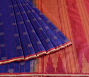 Kanjivaram Silk Saree in Navy Blue with Mayil-Chakram