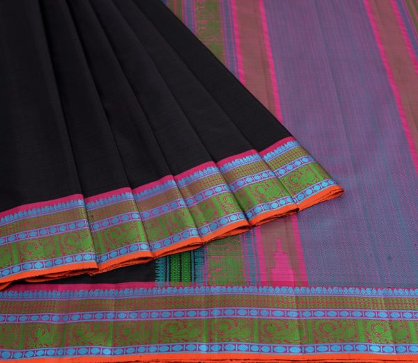 Kanjivaram Silk Saree in Black with threadwork