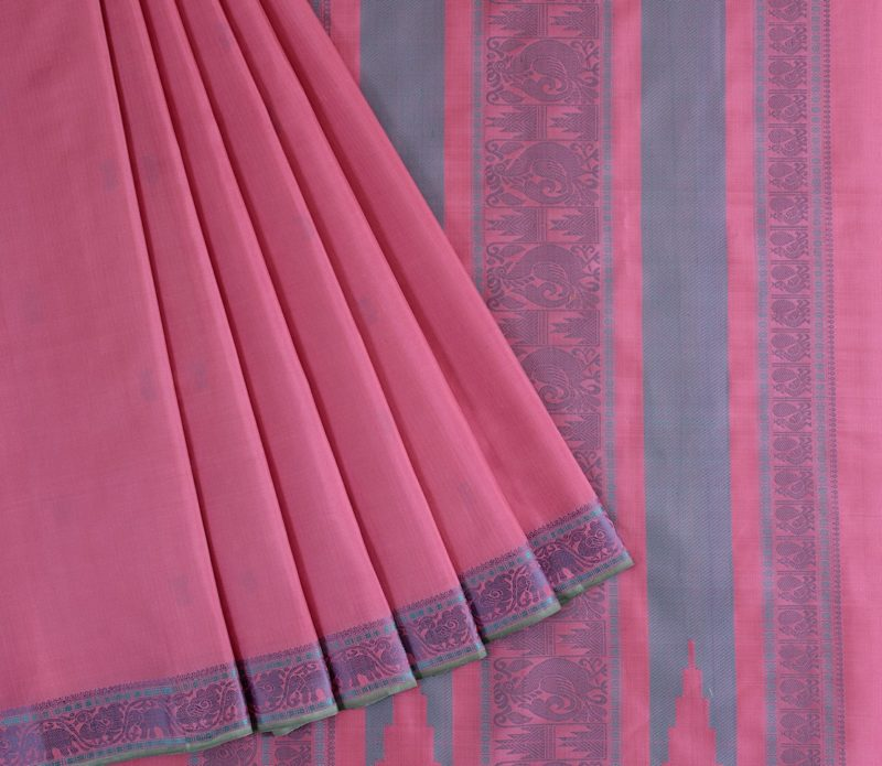 Kanjivaram Silk Saree in Powder Pink