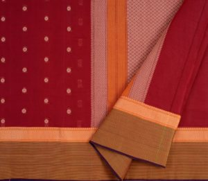kanchi cotton saree maroon with butta