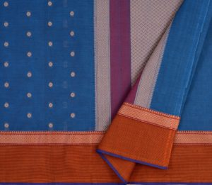 kanchi cotton saree in peacock blue with butta
