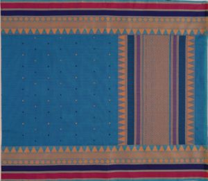 Kanchi cotton saree in peacock blue tall thread work border