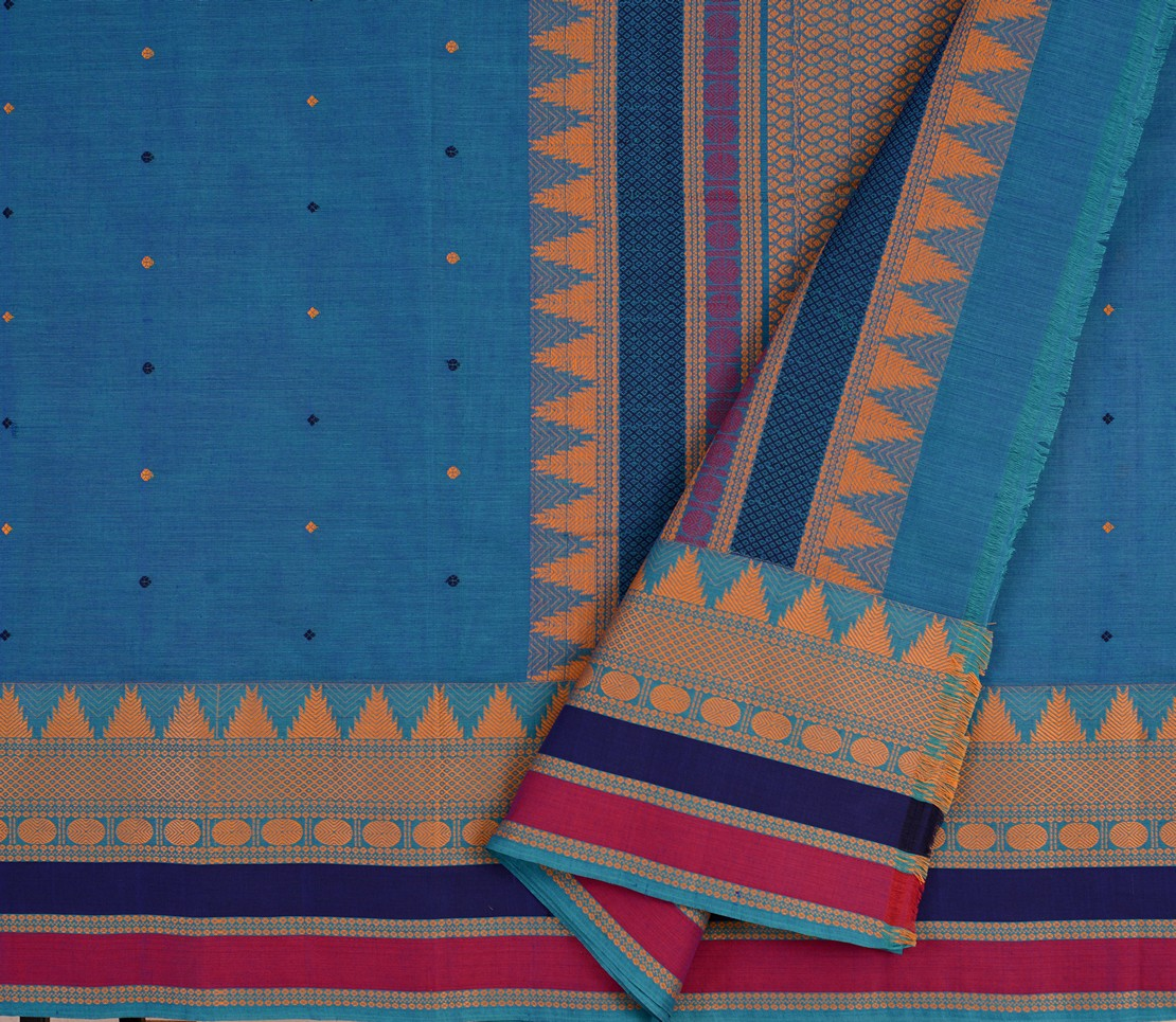 kanchi cotton saree peacock blue with tall border