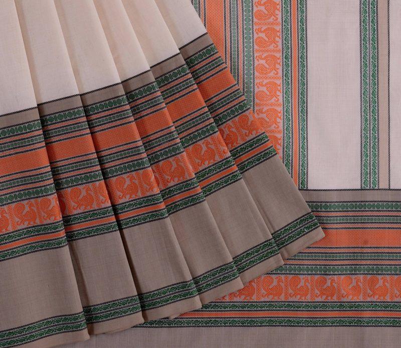 Kanchi Cotton Saree in Off White