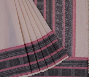 Kanchi Cotton Saree in Off White