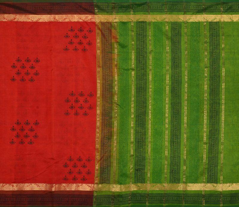 Kanchi Silkcotton Saree in Rust Orange with Prints 412012