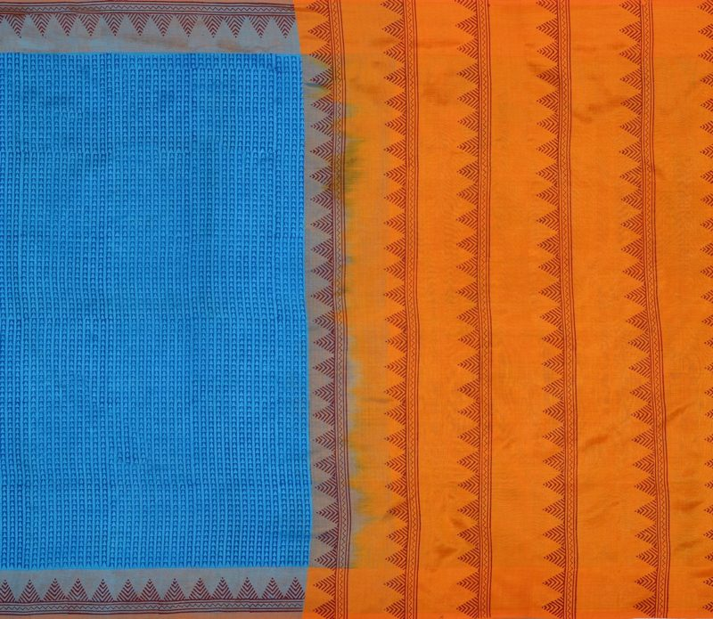 Kanchi Silkcotton Saree in Coppersulphate Blue 412014