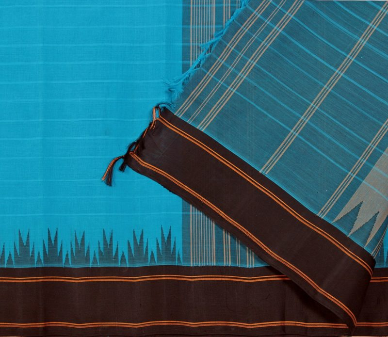 Blue cotton saree silk border