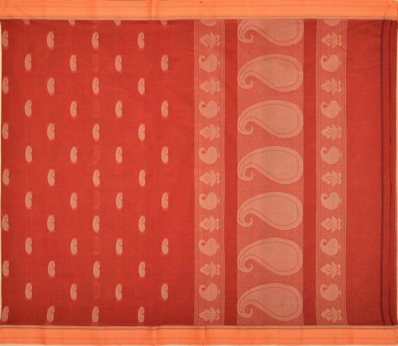 simple cotton saree in brown