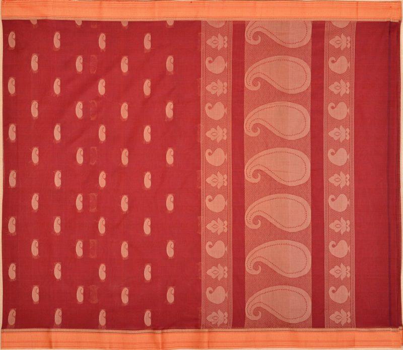 simple cotton saree maroon