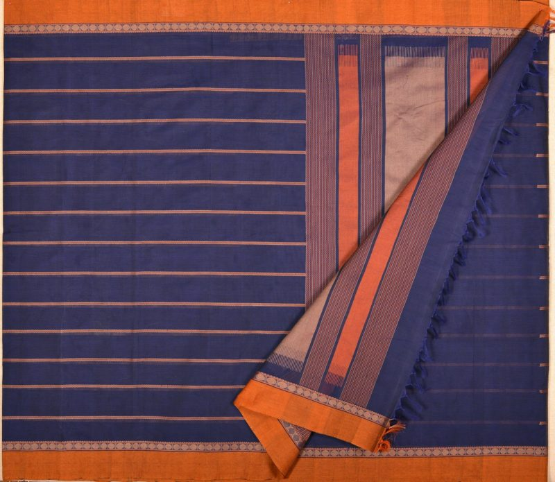 Kanchi cotton saree in navy blue with veldhari lines