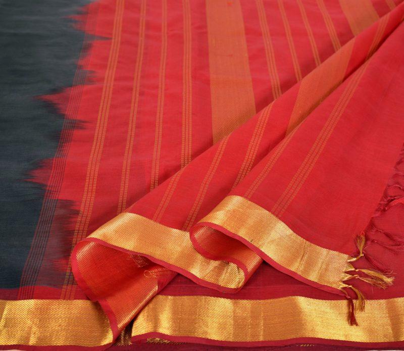 Kanchi Silkcotton Saree Black bavinchi border
