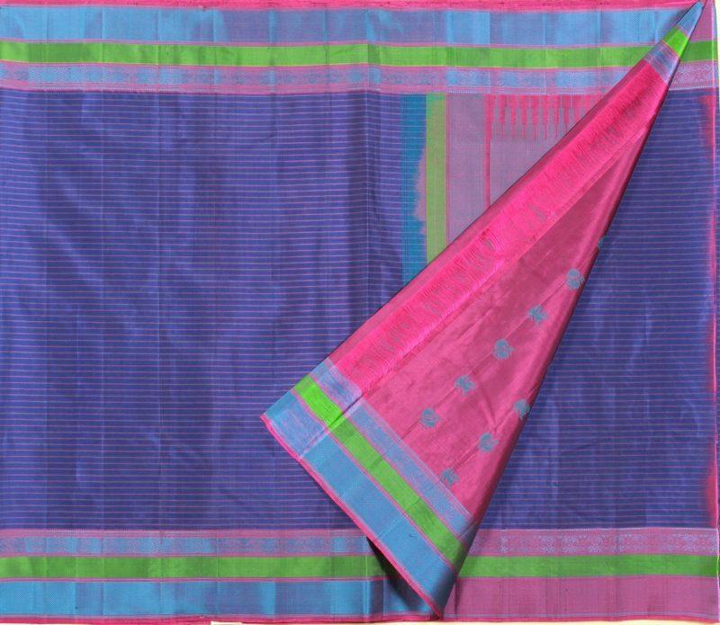soft silk saree in dark blue with horizontal stripes