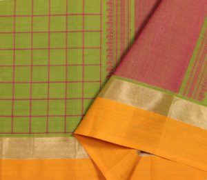 Kanchi cotton saree in lemon green with line checks