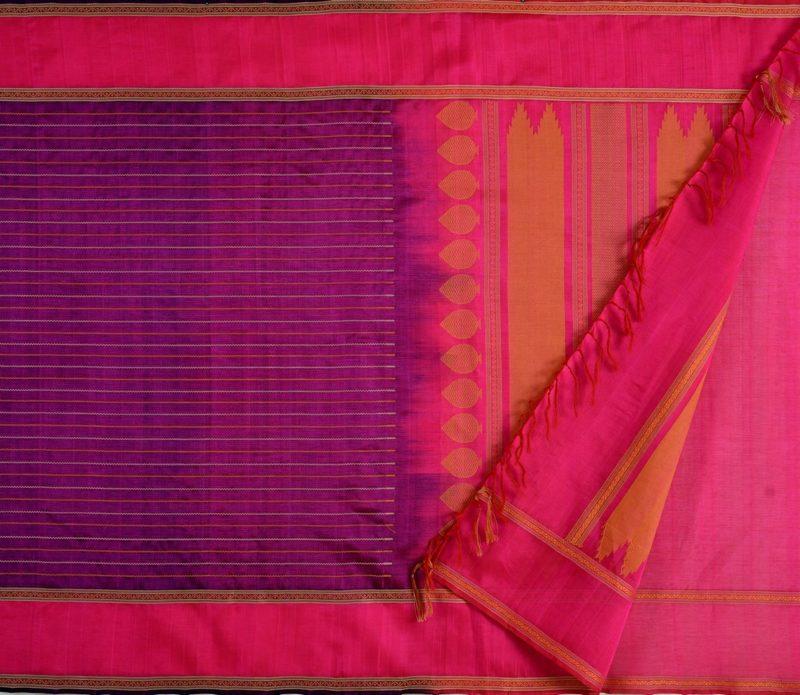 Kanchi Silkcotton Saree in Purple