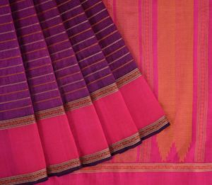 Kanchi Silkcotton Saree in Purple