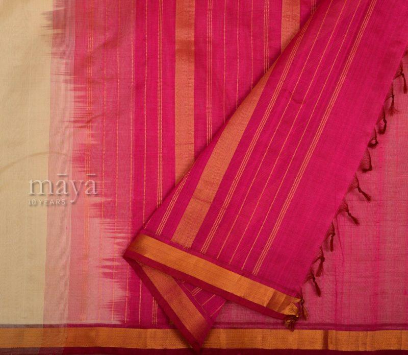 Kanchi Silkcotton Saree in Cream with Pink 66190603