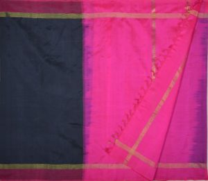 Kanchi Silkcotton Saree Black pink border